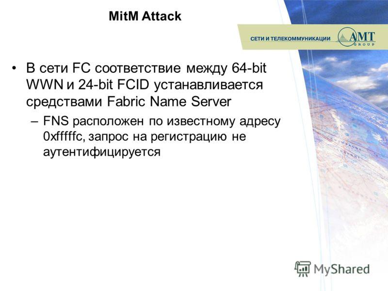 MitM Attack В сети FC соответствие между 64-bit WWN и 24-bit FCID устанавливается средствами Fabric Name Server –FNS расположен по известному адресу 0xfffffc, запрос на регистрацию не аутентифицируется