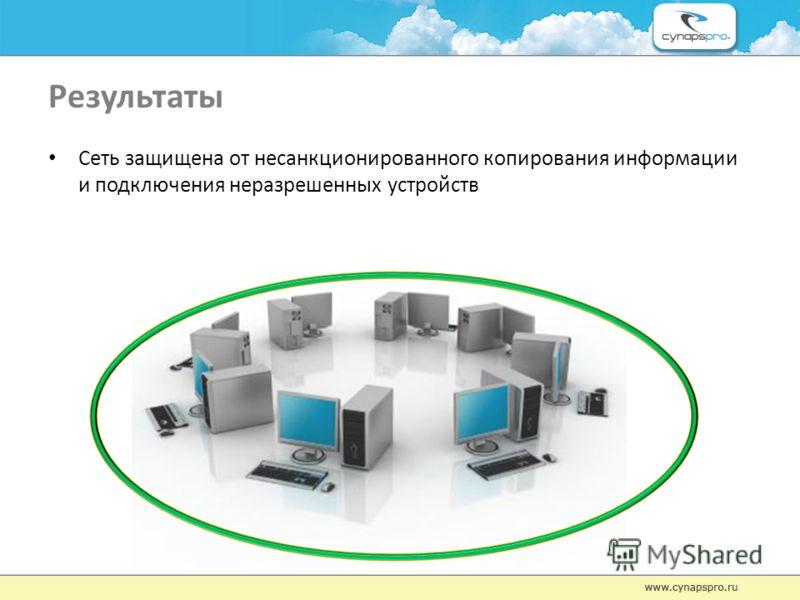 Результаты Сеть защищена от несанкционированного копирования информации и подключения неразрешенных устройств
