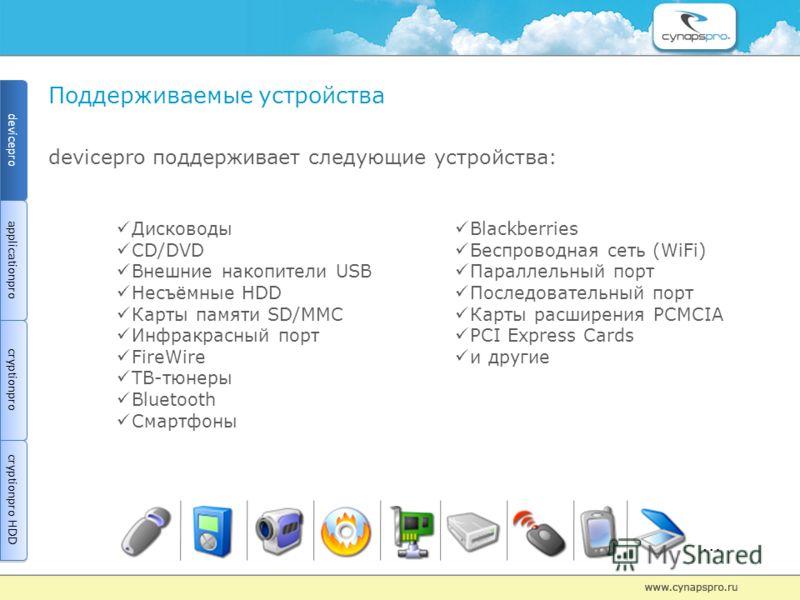 Поддерживаемые устройства devicepro поддерживает следующие устройства: Дисководы CD/DVD Внешние накопители USB Несъёмные HDD Карты памяти SD/MMC Инфракрасный порт FireWire ТВ-тюнеры Bluetooth Смартфоны Blackberries Беспроводная сеть (WiFi) Параллельн