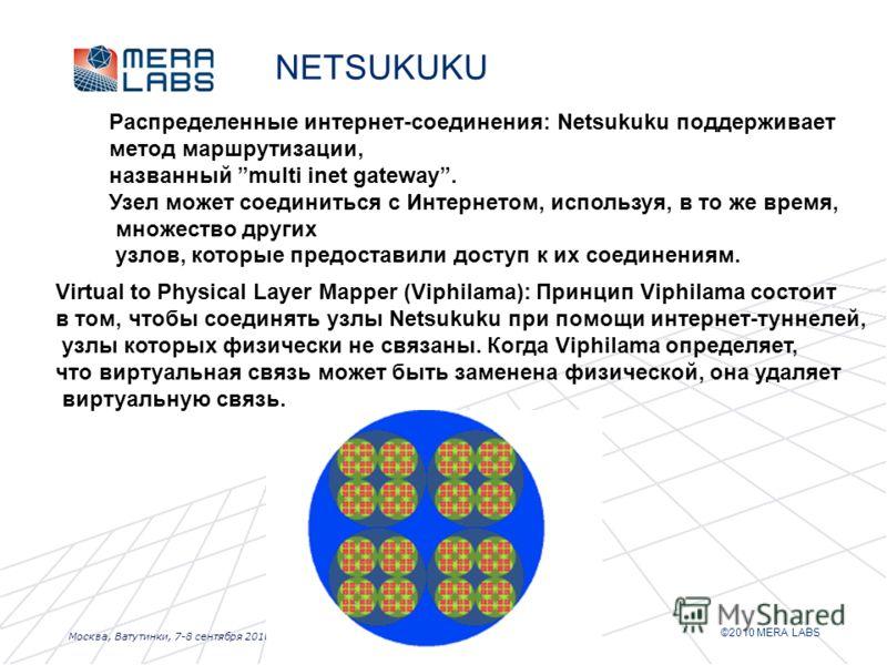 ©2010 MERA LABS Москва, Ватутинки, 7-8 сентября 2010 г. NETSUKUKU Распределенные интернет-соединения: Netsukuku поддерживает метод маршрутизации, названный multi inet gateway. Узел может соединиться с Интернетом, используя, в то же время, множество д