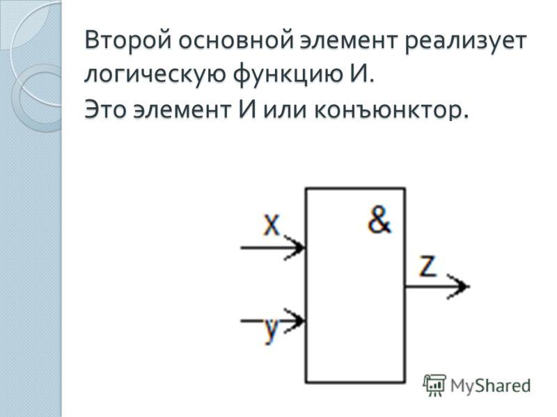 Второй основной элемент реализует логическую функцию И. Это элемент И или конъюнктор.