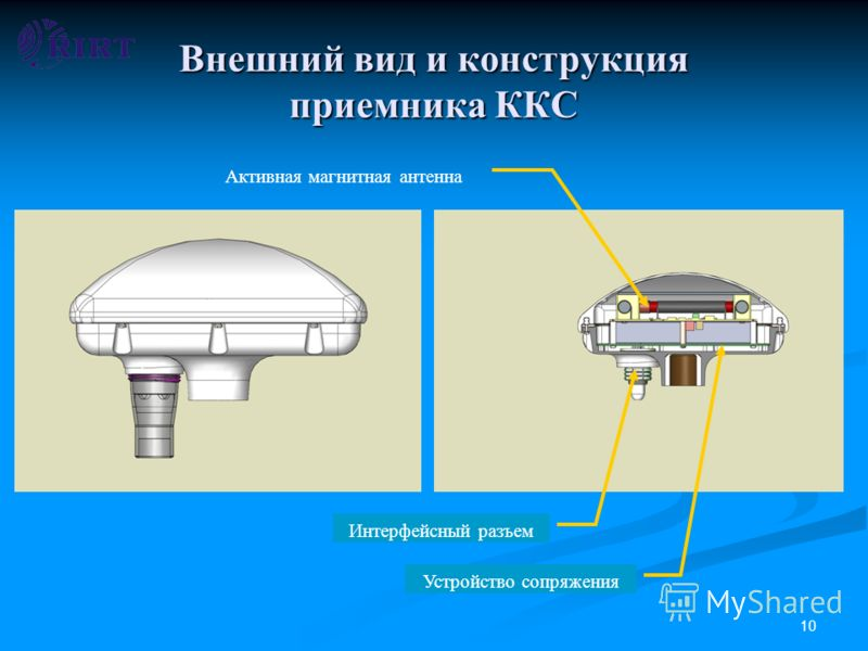 10 Внешний вид и конструкция приемника ККС Активная магнитная антенна Интерфейсный разъем Устройство сопряжения