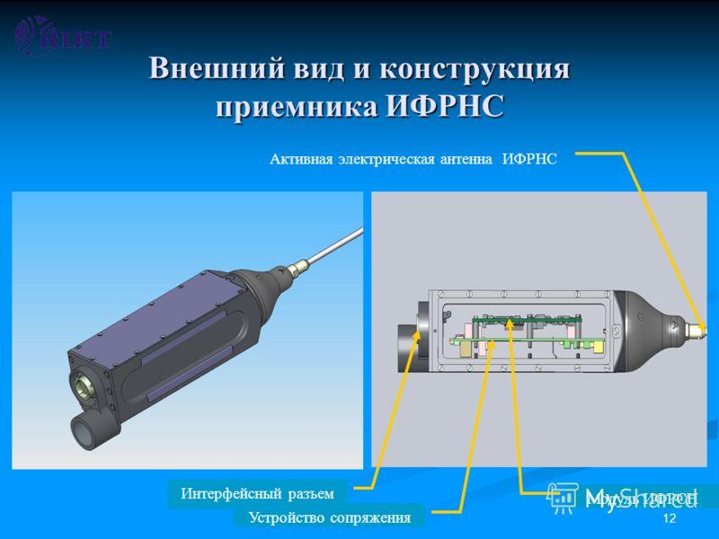 12 Внешний вид и конструкция приемника ИФРНС Активная электрическая антенна ИФРНС Интерфейсный разъем Устройство сопряжения Модуль ИФРСН