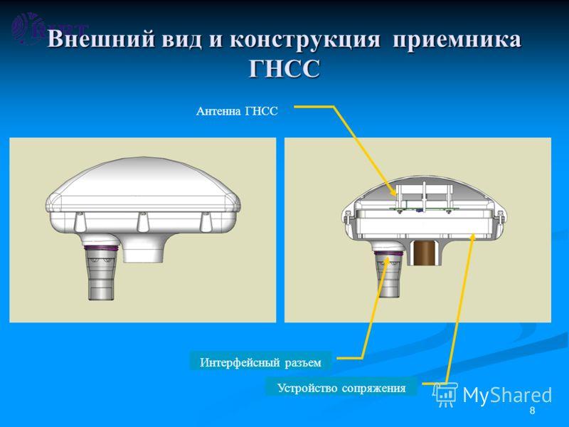 8 Внешний вид и конструкция приемника ГНСС Интерфейсный разъем Антенна ГНСС Устройство сопряжения