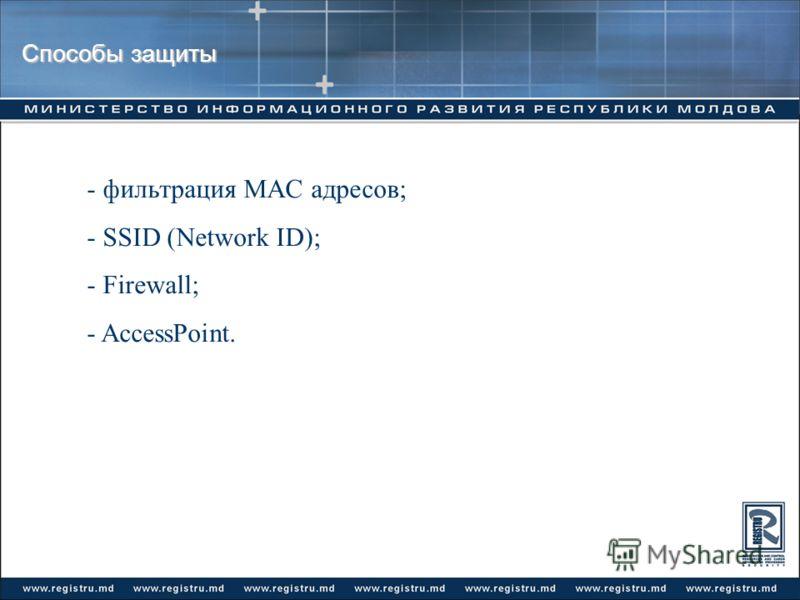 Способы защиты - фильтрация MAC адресов; - SSID (Network ID); - Firewall; - AccessPoint.