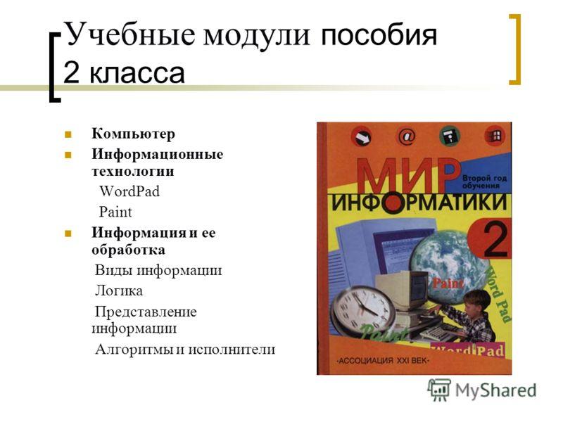 Учебные модули пособия 2 класса Компьютер Информационные технологии WordPad Paint Информация и ее обработка Виды информации Логика Представление информации Алгоритмы и исполнители