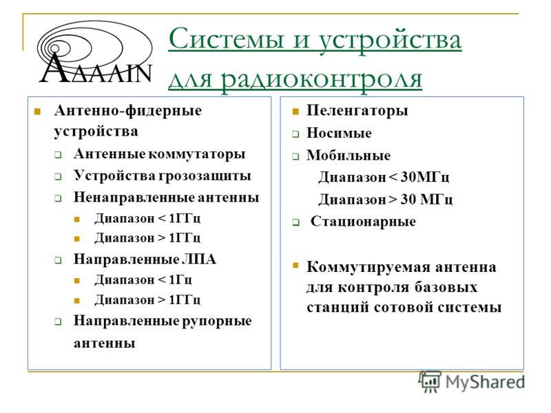 Системы и устройства для радиоконтроля Антенно-фидерные устройства Антенные коммутаторы Устройства грозозащиты Ненаправленные антенны Диапазон < 1ГГц Диапазон > 1ГГц Направленные ЛПА Диапазон < 1Гц Диапазон > 1ГГц Направленные рупорные антенны Пеленг