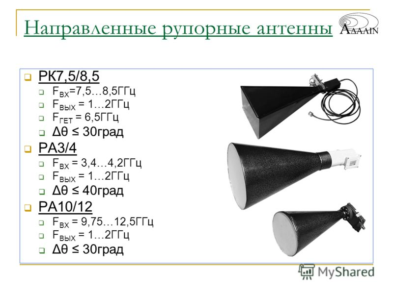 Направленные рупорные антенны РК7,5/8,5 F ВХ =7,5…8,5ГГц F ВЫХ = 1…2ГГц F ГЕТ = 6,5ГГц Δθ 30град РА3/4 F ВХ = 3,4…4,2ГГц F ВЫХ = 1…2ГГц Δθ 40град РА10/12 F ВХ = 9,75…12,5ГГц F ВЫХ = 1…2ГГц Δθ 30град