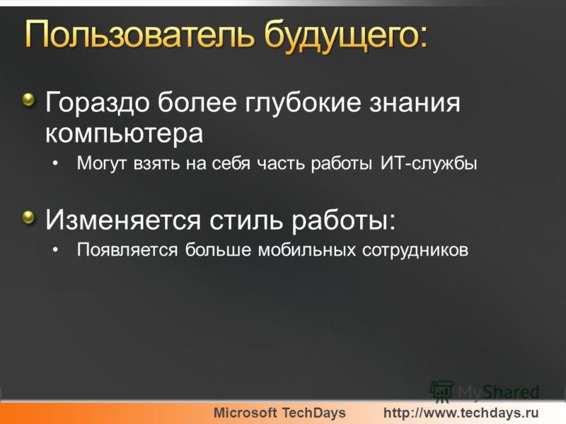 Microsoft TechDayshttp://www.techdays.ru Гораздо более глубокие знания компьютера Могут взять на себя часть работы ИТ-службы Изменяется стиль работы: Появляется больше мобильных сотрудников
