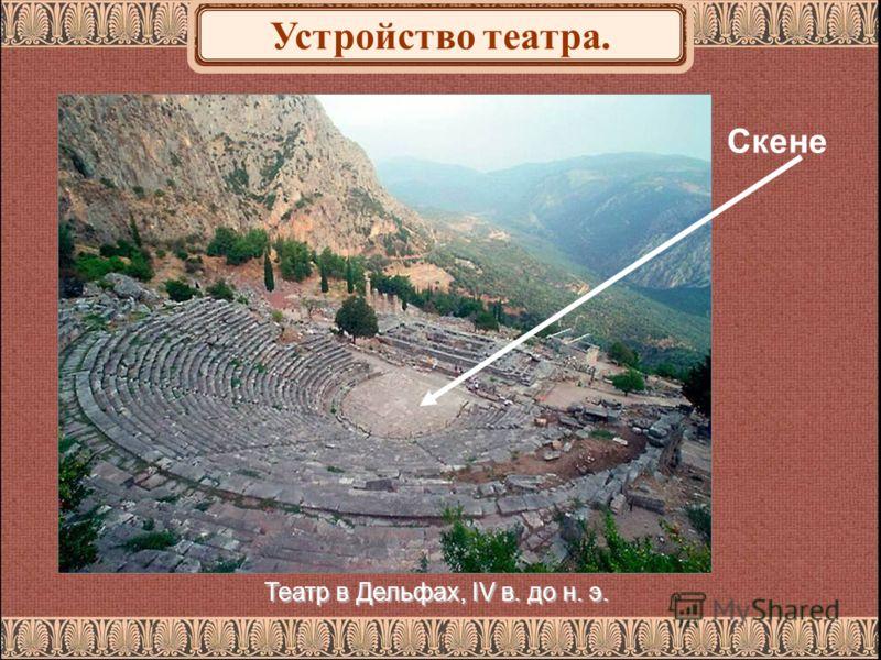 Театр в Дельфах, IV в. до н. э. Скене Устройство театра.