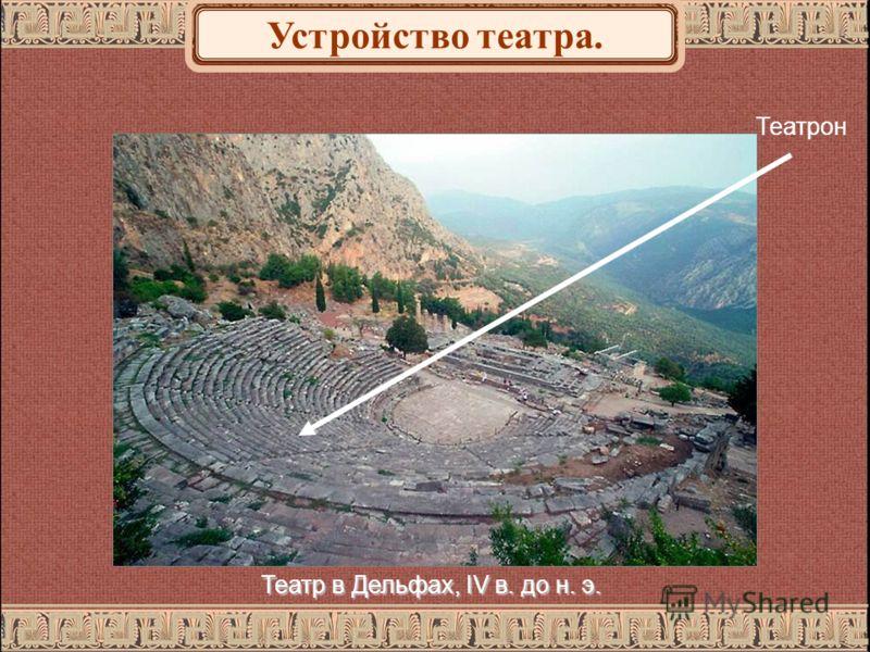 Театрон Театр в Дельфах, IV в. до н. э. Устройство театра.
