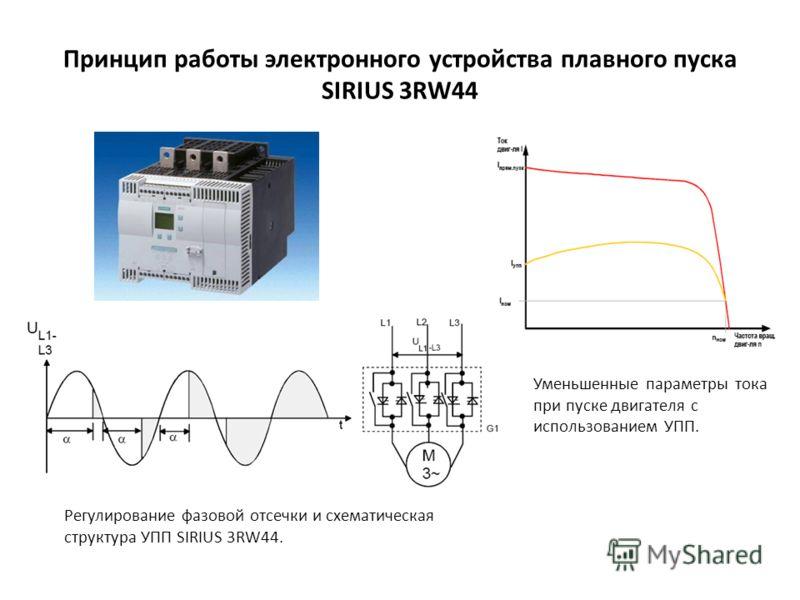 Принцип работы электронного устройства плавного пуска SIRIUS 3RW44 Уменьшенные параметры тока при пуске двигателя с использованием УПП. Регулирование фазовой отсечки и схематическая структура УПП SIRIUS 3RW44.