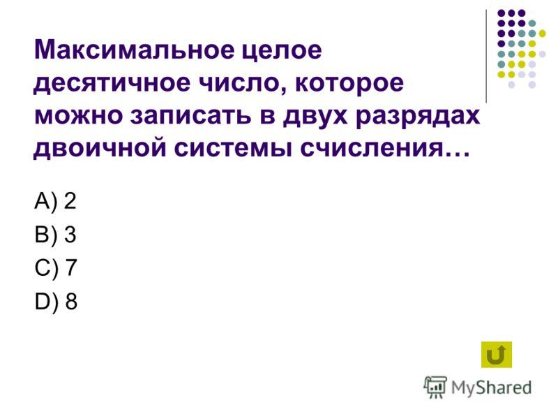 Вы выбрали область «Представление информации». Выберите вопрос. 1 2 3 4 5 6 7 8 9