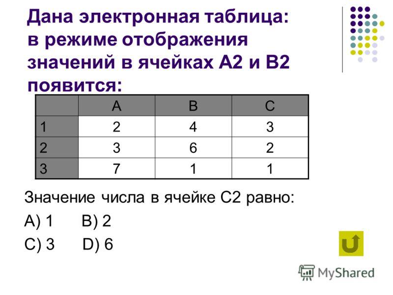 Заголовки столбцов обозначаются: А) только числами B) буквами и числами C) латинскими буквами D) русскими буквами