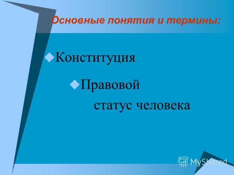 Основные понятия и термины: Конституция Правовой статус человека