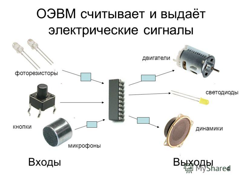 ОЭВМ считывает и выдаёт электрические сигналы ВходыВыходы 4 фоторезисторы кнопки микрофоны динамики светодиоды двигатели