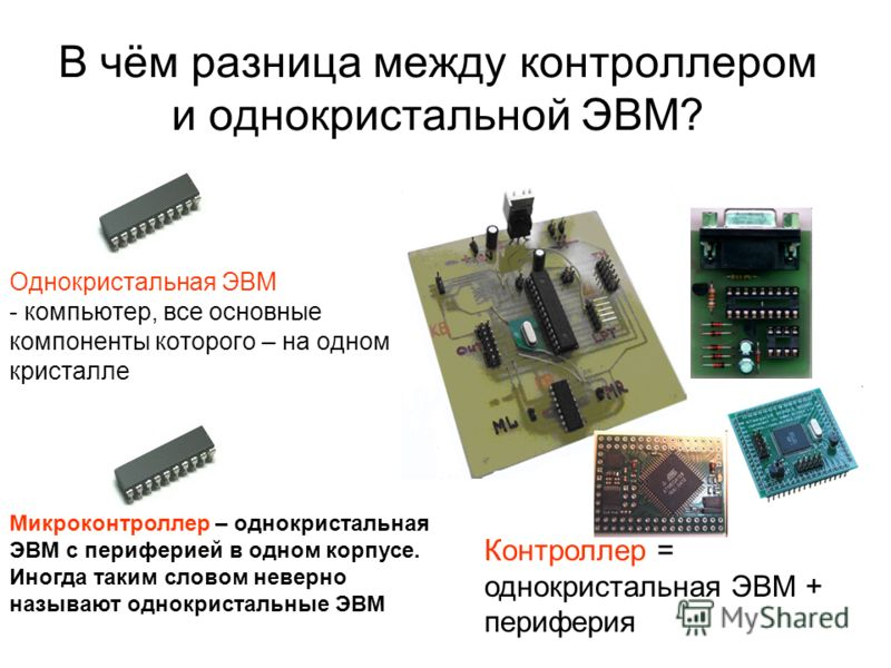 В чём разница между контроллером и однокристальной ЭВМ? Однокристальная ЭВМ - компьютер, все основные компоненты которого – на одном кристалле Контроллер = однокристальная ЭВМ + периферия Микроконтроллер – однокристальная ЭВМ с периферией в одном кор