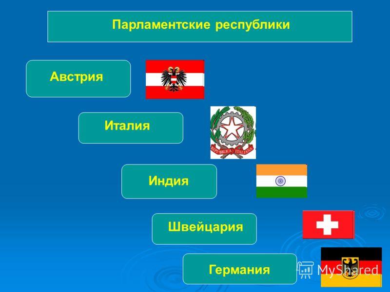 Парламентские республики Австрия Италия Индия Швейцария Германия