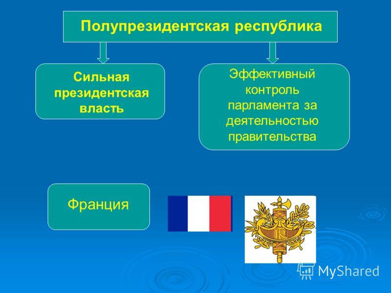 Полупрезидентская республика Сильная президентская власть Эффективный контроль парламента за деятельностью правительства Франция