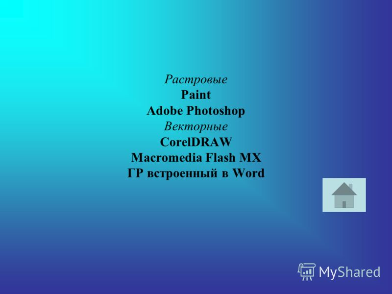 Растровые Paint Adobe Photoshop Векторные CorelDRAW Macromedia Flash MX ГР встроенный в Word