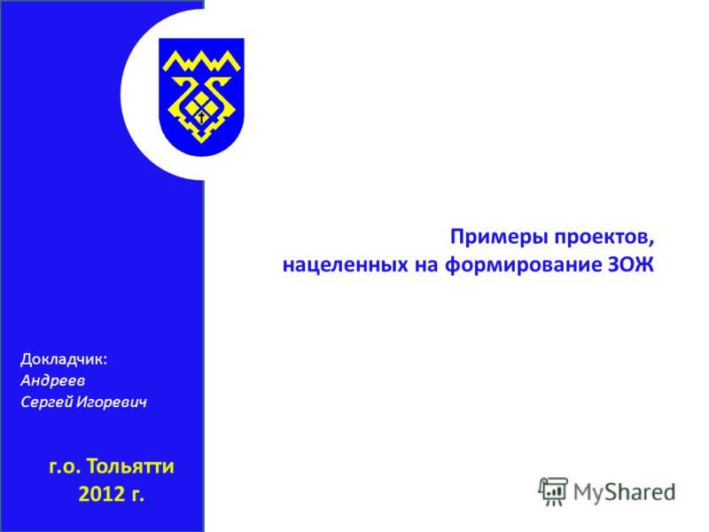 г.о. Тольятти 2012 г. Примеры проектов, нацеленных на формирование ЗОЖ Докладчик: Андреев Сергей Игоревич
