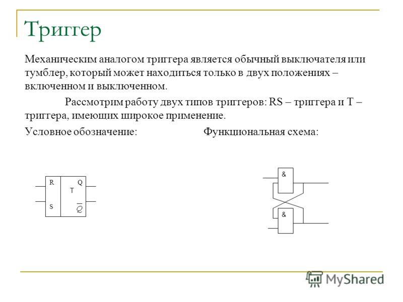 Триггер Механическим аналогом триггера является обычный выключателя или тумблер, который может находиться только в двух положениях – включенном и выключенном. Рассмотрим работу двух типов триггеров: RS – триггера и T – триггера, имеющих широкое приме