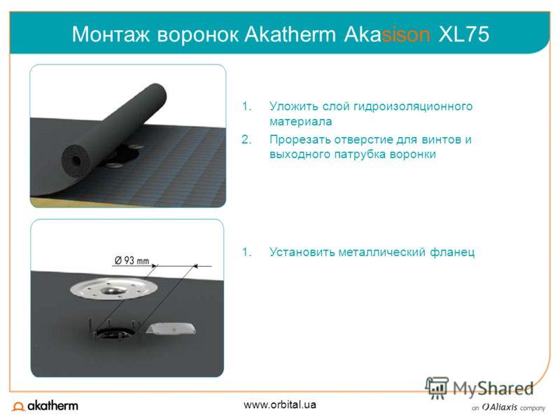 www.orbital.ua Монтаж воронок Akatherm Akasison XL75 1.Уложить слой гидроизоляционного материала 2.Прорезать отверстие для винтов и выходного патрубка воронки 1.Установить металлический фланец