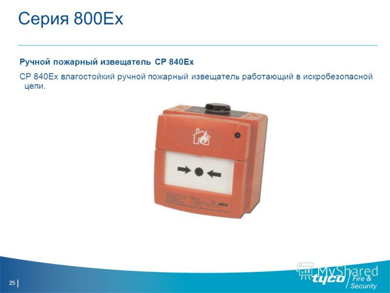 25 Серия 800Ех Ручной пожарный извещатель CP 840Ex CP 840Ex влагостойкий ручной пожарный извещатель работающий в искробезопасной цепи.