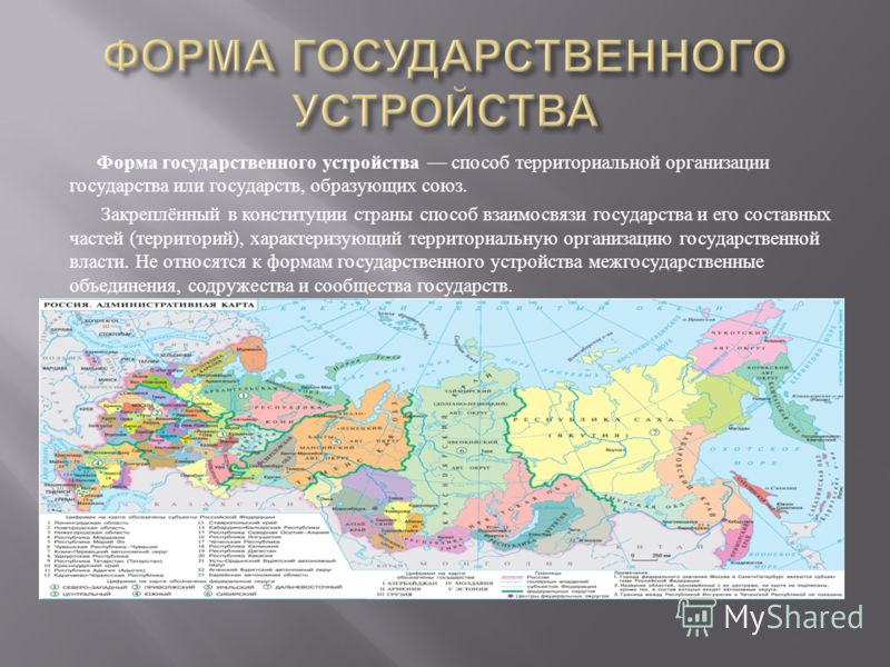 Форма государственного устройства способ территориальной организации государства или государств, образующих союз. Закреплённый в конституции страны способ взаимосвязи государства и его составных частей ( территорий ), характеризующий территориальную