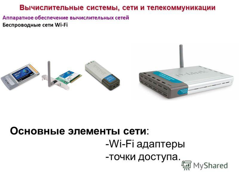 Вычислительные системы, сети и телекоммуникации Аппаратное обеспечение вычислительных сетей Беспроводные сети Wi-Fi Основные элементы сети: -Wi-Fi адаптеры -точки доступа.