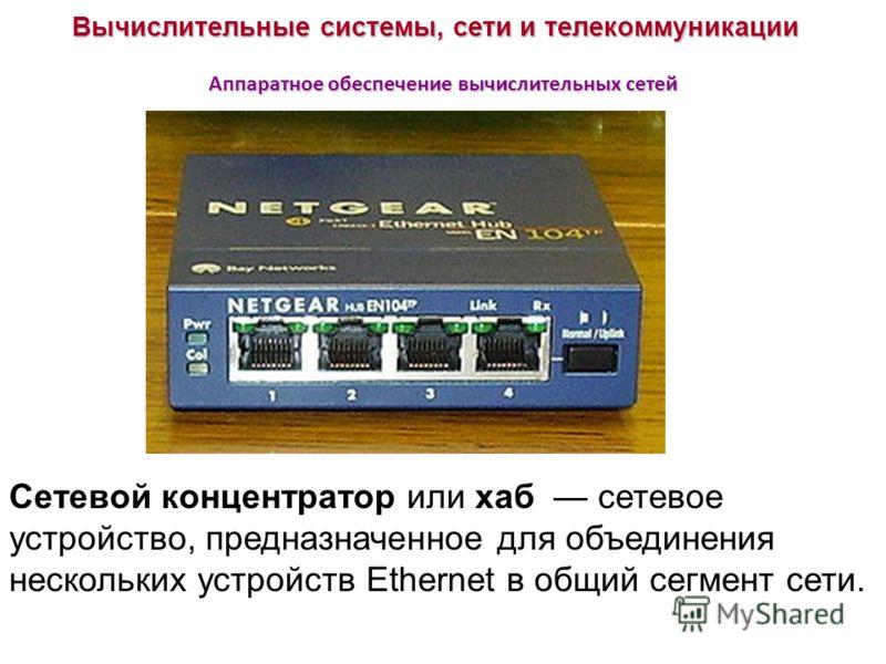 Вычислительные системы, сети и телекоммуникации Аппаратное обеспечение вычислительных сетей Сетевой концентратор или хаб сетевое устройство, предназначенное для объединения нескольких устройств Ethernet в общий сегмент сети.
