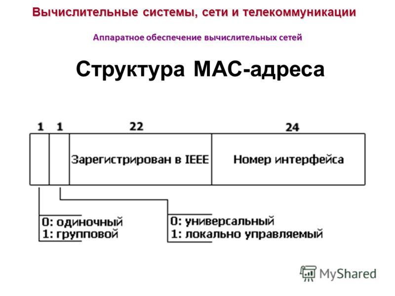 Вычислительные системы, сети и телекоммуникации Аппаратное обеспечение вычислительных сетей Структура MAC-адреса