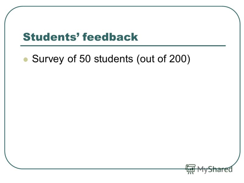 Students feedback Survey of 50 students (out of 200)