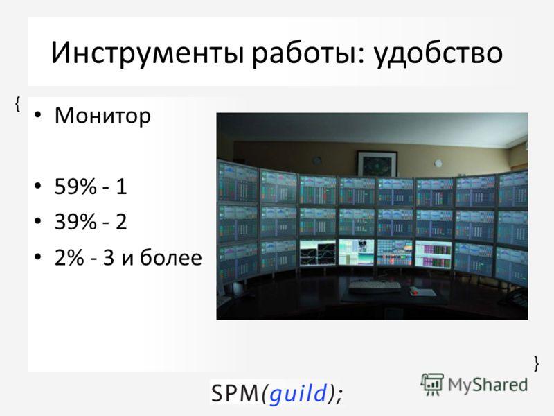 { { Инструменты работы: удобство Монитор 59% - 1 39% - 2 2% - 3 и более