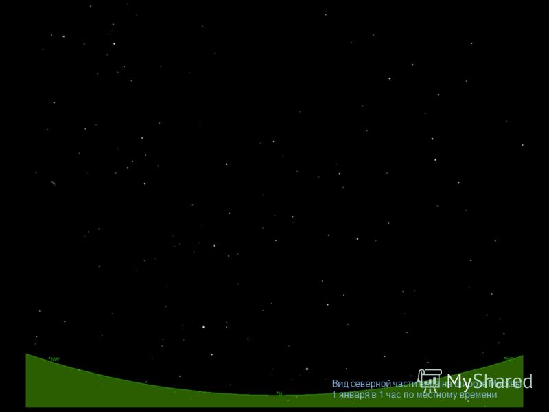 Вид северной части неба на широте Москвы 1 января в 1 час по местному времени