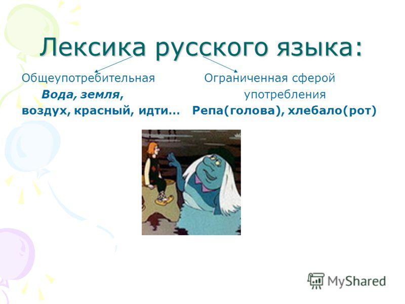 Лексика русского языка: Общеупотребительная Ограниченная сферой Вода, земля, употребления воздух, красный, идти… Репа(голова), хлебало(рот)