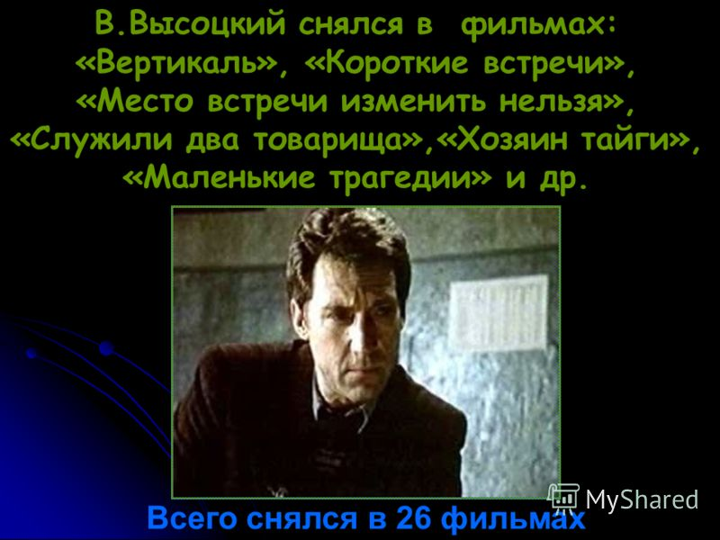 В.Высоцкий снялся в фильмах: «Вертикаль», «Короткие встречи», «Место встречи изменить нельзя», «Служили два товарища»,«Хозяин тайги», «Маленькие трагедии» и др. Всего снялся в 26 фильмах
