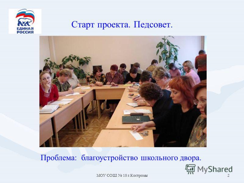 МОУ СОШ 18 г.Костромы2 Старт проекта. Педсовет. Проблема: благоустройство школьного двора.