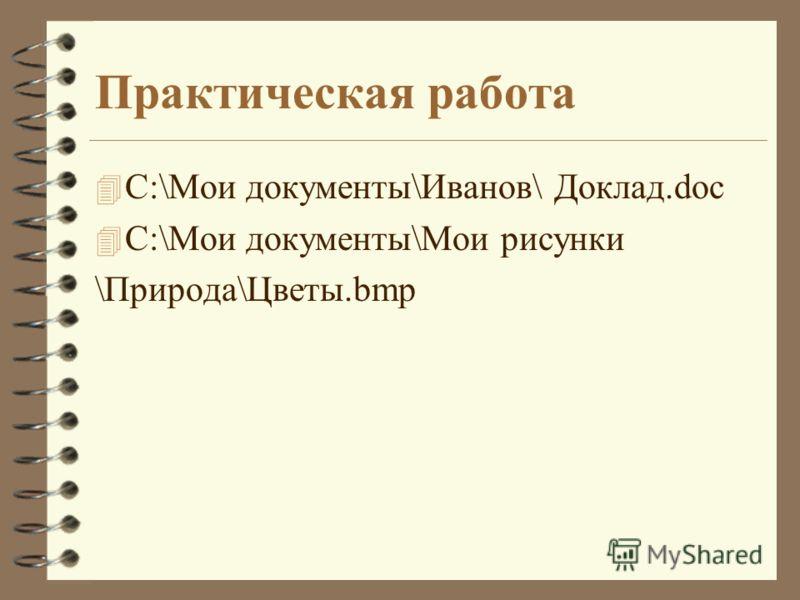 Практическая работа 4 C:\Мои документы\Иванов\ Доклад.doc 4 C:\Мои документы\Мои рисунки \Природа\Цветы.bmp