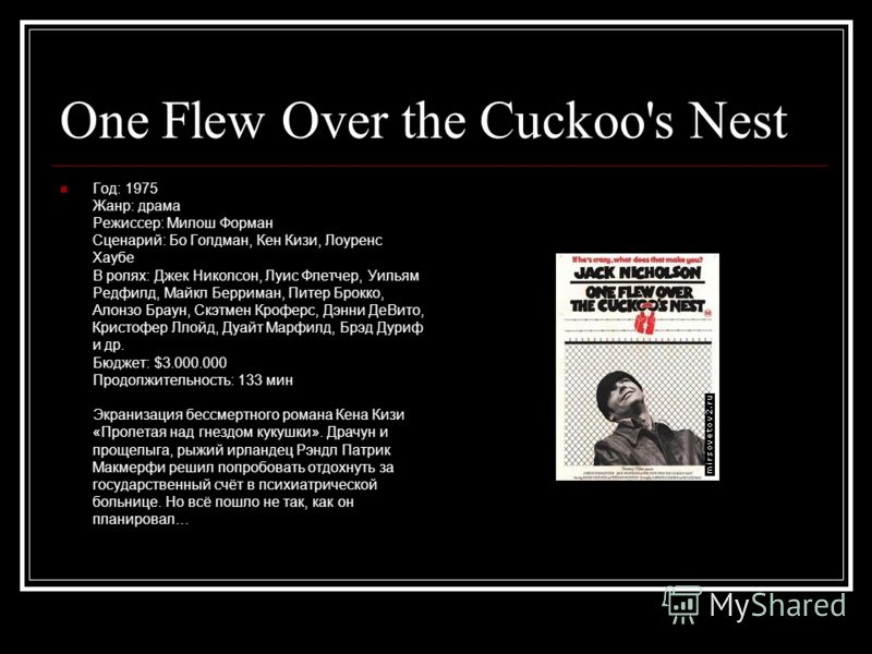One Flew Over the Cuckoo's Nest Год: 1975 Жанр: драма Режиссер: Милош Форман Сценарий: Бо Голдман, Кен Кизи, Лоуренс Хаубе В ролях: Джек Николсон, Луис Флетчер, Уильям Редфилд, Майкл Берриман, Питер Брокко, Алонзо Браун, Скэтмен Кроферс, Дэнни ДеВито