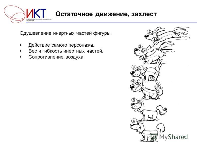 15 Остаточное движение, захлест Одушевление инертных частей фигуры: Действие самого персонажа. Вес и гибкость инертных частей. Сопротивление воздуха.