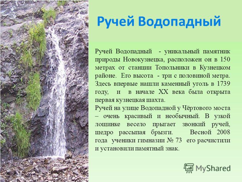 Ручей Водопадный Ручей Водопадный - уникальный памятник природы Новокузнецка, расположен он в 150 метрах от станции Топольники в Кузнецком районе. Его высота - три с половиной метра. Здесь впервые нашли каменный уголь в 1739 году, и в начале XX века