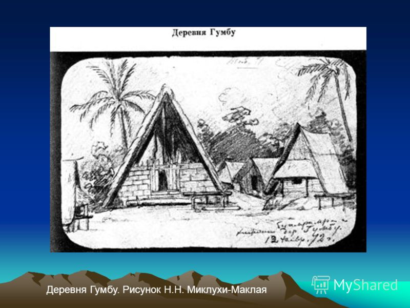 Деревня Гумбу. Рисунок Н.Н. Миклухи-Маклая
