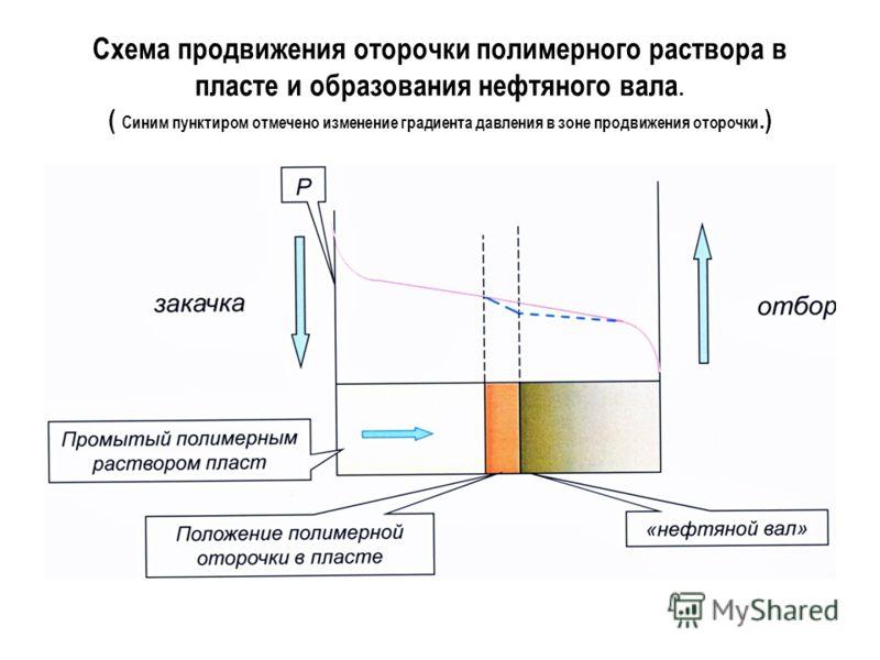 Схема продвижения оторочки полимерного раствора в пласте и образования нефтяного вала. ( Синим пунктиром отмечено изменение градиента давления в зоне продвижения оторочки.)