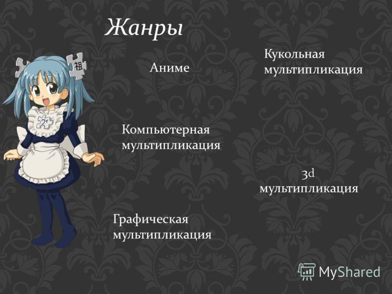 Жанры Аниме Кукольная мультипликация Компьютерная мультипликация 3d мультипликация Графическая мультипликация
