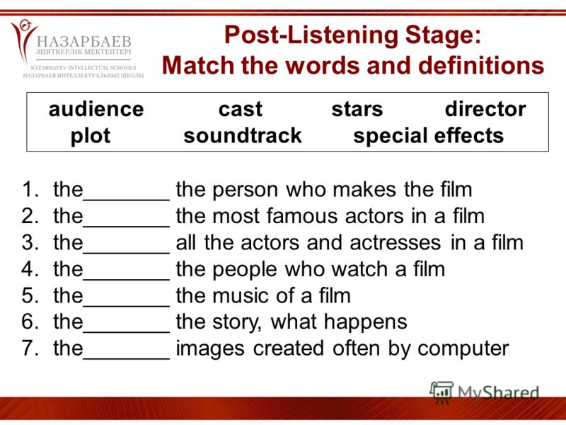Post-Listening Stage: Match the words and definitions audiencecaststarsdirector plotsoundtrackspecial effects 1.the_______ the person who makes the film 2.the_______ the most famous actors in a film 3.the_______ all the actors and actresses in a film