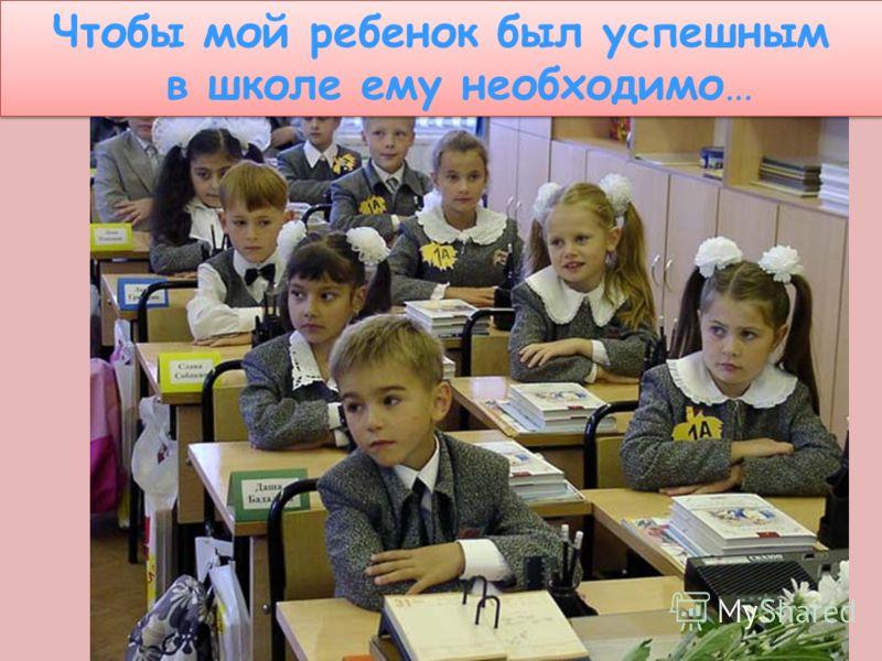 Чтобы мой ребенок был успешным в школе ему необходимо… Чтобы мой ребенок был успешным в школе ему необходимо…