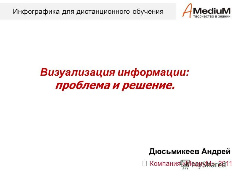 Визуализация информации: проблема и решение. Компания «МедиуМ», 2011 Дюсьмикеев Андрей Инфографика для дистанционного обучения