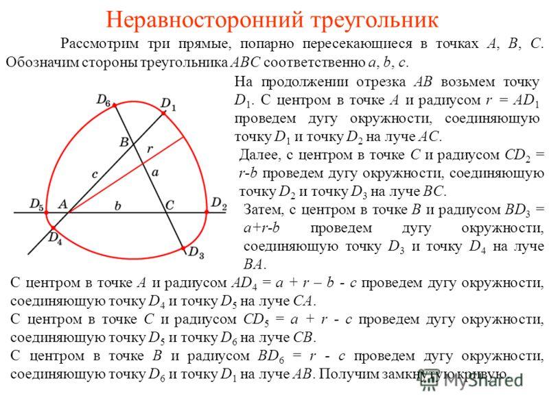 Неравносторонний треугольник Рассмотрим три прямые, попарно пересекающиеся в точках A, B, C. Обозначим стороны треугольника ABC соответственно a, b, c. На продолжении отрезка AB возьмем точку D 1. С центром в точке A и радиусом r = AD 1 проведем дугу