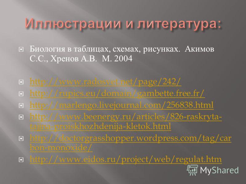 Биология в таблицах, схемах, рисунках. Акимов С. С., Хренов А. В. М. 2004 http://www.radosvet.net/page/242/ http://rupics.eu/domain/gambette.free.fr/ http://marlengo.livejournal.com/256838.html http://www.beenergy.ru/articles/826-raskryta- tajjna-pro